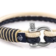 Constantin Nautics® Jack Tar SLIM náramok z kože a  jachtárskeho  lana CNJ10075-18